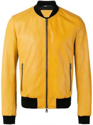 Куртка бомбер из кожи ягненка Dolce & Gabbana. Цвет: жёлтый и оранжевый