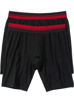 Длинные трусы-боксеры (2 шт.) (черный/темно-красный) bonprix. Цвет: черный/темно-красный