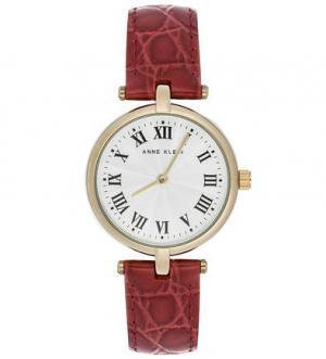 Часы с бордовым кожаным браслетом Anne Klein