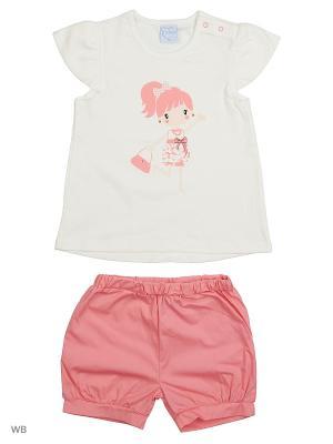 Футболка и шорты Cutie Bear. Цвет: светло-коралловый, белый