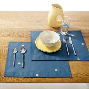 Комплект из 2 салфеток под столовый прибор, полихлопка ZINNIA La Redoute Interieurs. Цвет: синий/горчичный