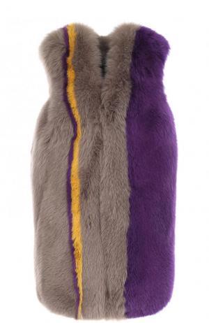 Шуба свободного кроя из меха лисы Missoni. Цвет: голубой