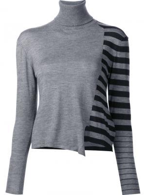 Джемпер с полосатым принтом Les Animaux. Цвет: серый