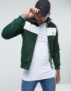 Fred Perry Зеленая спортивная куртка колор блок Sports Authentic. Цвет: зеленый