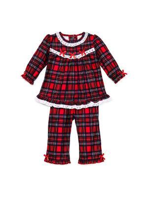 Пижама для девочек Шотландка Little Me. Цвет: красный, черный