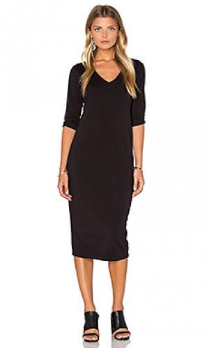 Миди платье с v-образным вырезом и рукавом 3/4 Michael Stars. Цвет: черный