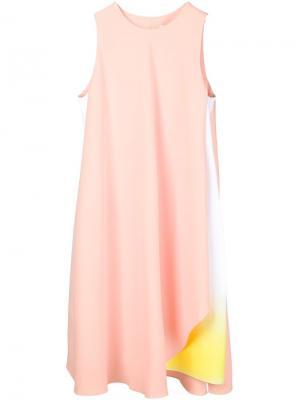Платье-шифт с асимметричным подолом Jonathan Saunders. Цвет: розовый и фиолетовый