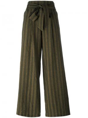 Прямые брюки в полоску с поясом Masscob. Цвет: зелёный