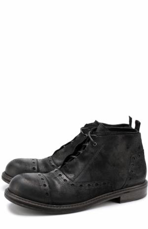 Кожаные ботинки с брогированием на шнуровке O.X.S.. Цвет: черный