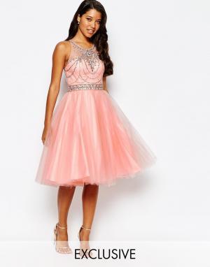 Forever Unique Платье для выпускного с отделкой и юбкой из тюля. Цвет: розовый