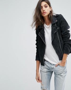 Goosecraft Замшевая байкерская куртка. Цвет: серый