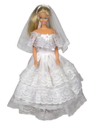 Свадебное платье из шелка с фатой для куклы 29 см Модница.. Цвет: серебристый, белый