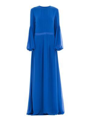 Платье вечернее двойное из шифона синее Bella kareema