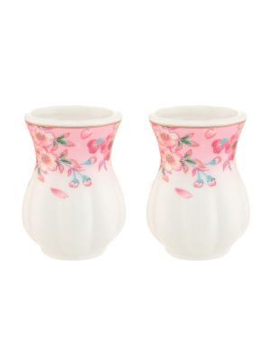 Набор из 2-х вазочек под зубочистки Сакура Elan Gallery. Цвет: розовый