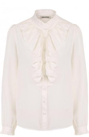Шелковая блуза с воротником-стойкой и плиссированным оборками Zadig&Voltaire. Цвет: белый