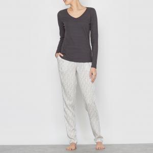 Пижама с длинными рукавами La Redoute Collections. Цвет: серый стальной