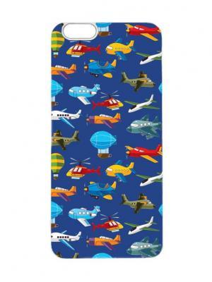 Чехол для iPhone 6Plus Самолетики на синем Арт. 6Plus-150 Chocopony. Цвет: белый, черный, синий, салатовый
