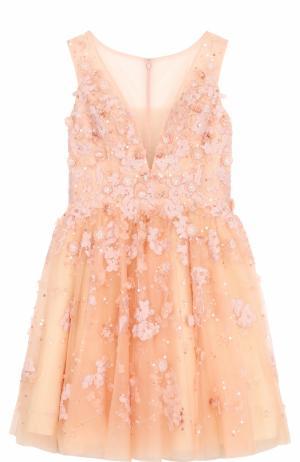 Приталенное мини-платье с цветочной отделкой Basix Black Label. Цвет: розовый