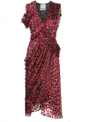 Асимметричное платье с запахом Jason Wu. Цвет: красный
