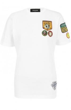 Хлопковая футболка прямого кроя с нашивками Dsquared2. Цвет: белый