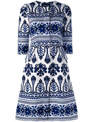 Расклешенное платье с узором Samantha Sung. Цвет: синий