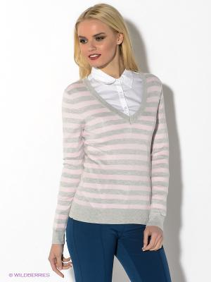 Пуловер Oodji. Цвет: бледно-розовый, светло-серый