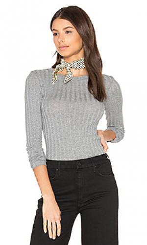 Кашемировая футболка в рубчик с длинным рукавом Enza Costa. Цвет: серый