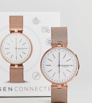 Skagen Смарт-часы с сетчатым ремешком цвета розового золота Connected. Цвет: золотой