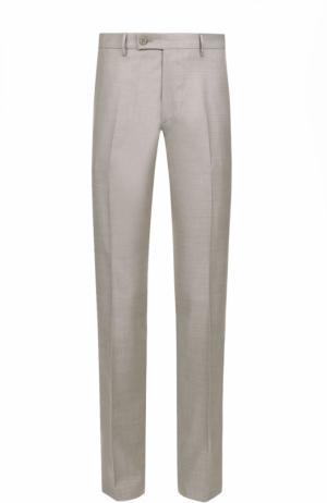 Шерстяные брюки прямого кроя Berwich. Цвет: светло-бежевый