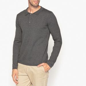 Пуловер с воротником-поло из 100% хлопка La Redoute Collections. Цвет: темно-серый меланж