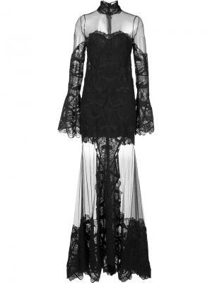 Расклешенное прозрачное платье Jonathan Simkhai. Цвет: чёрный