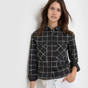 Рубашка в клетку с длинными рукавами ELEVEN PARIS. Цвет: черный/ белый