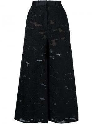 Широкие брюки с вышивкой Self-Portrait. Цвет: чёрный
