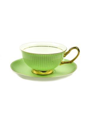 Подарочный чайный набор Жасмин на 1 персону Русские подарки. Цвет: белый, зеленый, золотистый