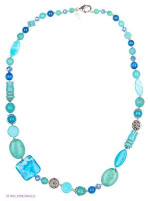Колье Роман с камнем. Цвет: бирюзовый, голубой, синий