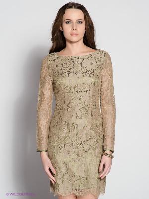 Платье EZANNA. Цвет: оливковый, золотистый