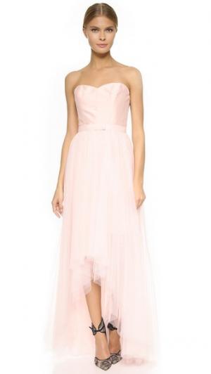 Платье без бретелек со съемной юбкой Monique Lhuillier Bridesmaids. Цвет: розовый