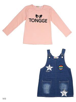 Сарафан джинсовый и джемпер Kidly. Цвет: розовый, синий