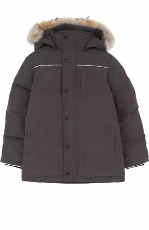 Пуховая куртка Eakin с меховой отделкой на капюшоне Canada Goose. Цвет: серый