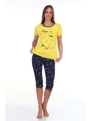 Пижама ХОУМ СТАЙЛ. Цвет: желтый, темно-синий