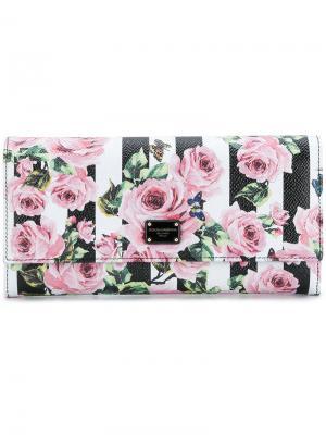 Кошелек с принтом роз Dolce & Gabbana. Цвет: многоцветный