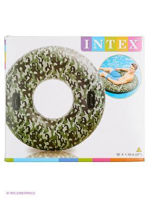 Надувной круг с ручками Intex. Цвет: хаки