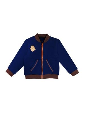 Толстовка на молнии с карманами нашивка Лист футер начесом Агат. Цвет: коричневый, темно-синий
