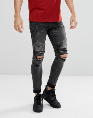New Look Черные выбеленные байкерские джинсы скинни с рваной отделкой. Цвет: черный