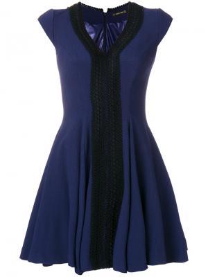 Приталенное платье с V-образным вырезом Plein Sud. Цвет: синий