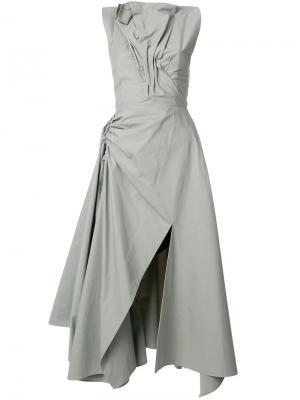 Асимметричное платье со сборкой Maticevski. Цвет: зелёный