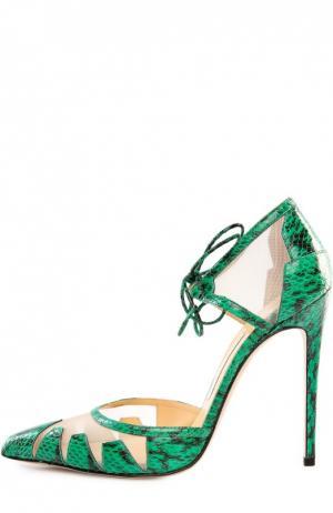 Кожаные туфли Lana с текстильными вставками Bionda Castana. Цвет: зеленый