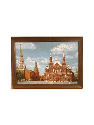 Гобеленовая картина Музей на Красной площади 36х26 см Рапира. Цвет: голубой, красный