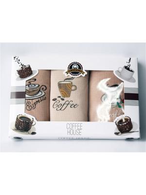 Подарочный набор из 3 вафельных полотенец кофе. Домтекс. Цвет: бронзовый, бледно-розовый