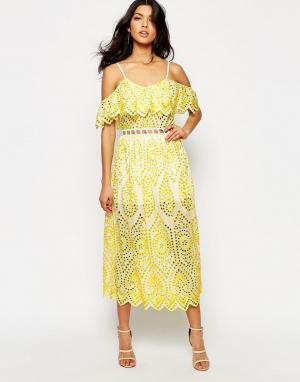 Foxiedox Платье с кружевной отделкой Quinn. Цвет: желтый